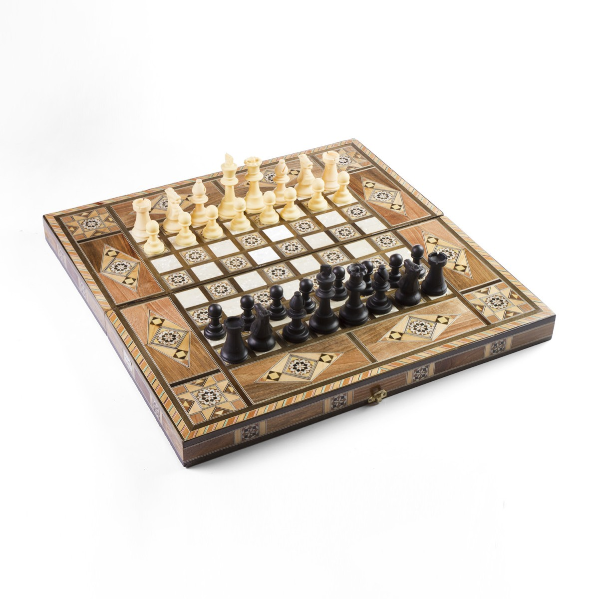 Damascene wooden chess board
