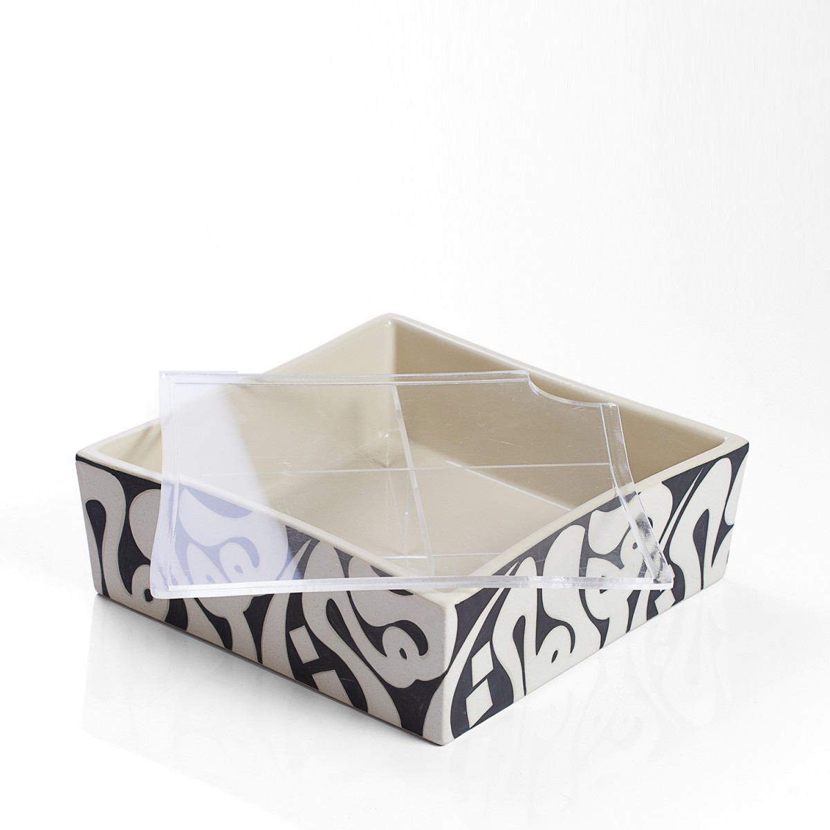 Black/White Small Cubic Acrylic Dates Sweets Chocolate Box