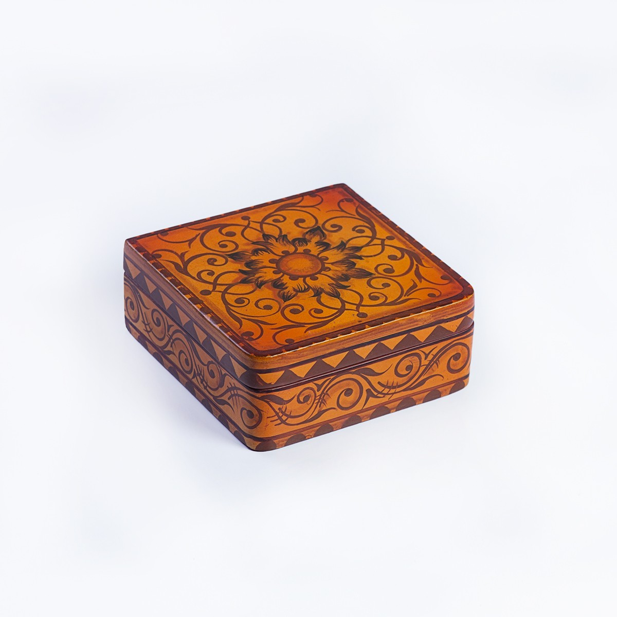 Vintage decorated jewelry box - dark orange