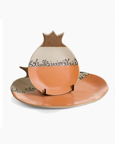 Pomegranate Shaped Biscuit Plate Set Graffiti Script