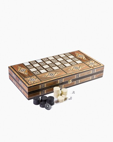 Wooden damascene dice table