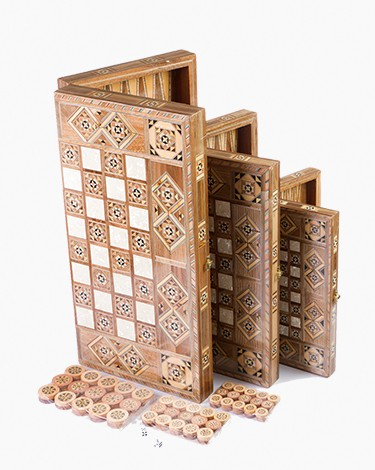 Wooden damascene dice table-Set of 3 peices