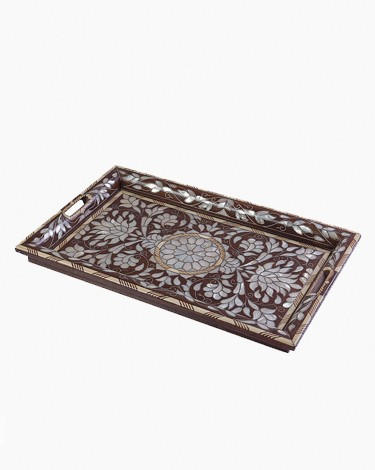 Decorated wooden tray