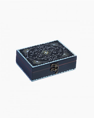 Vintage decorated jewelry box - black