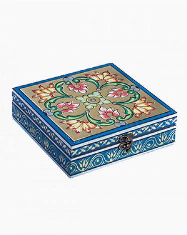 Vintage decorated jewelry Box - powder blue