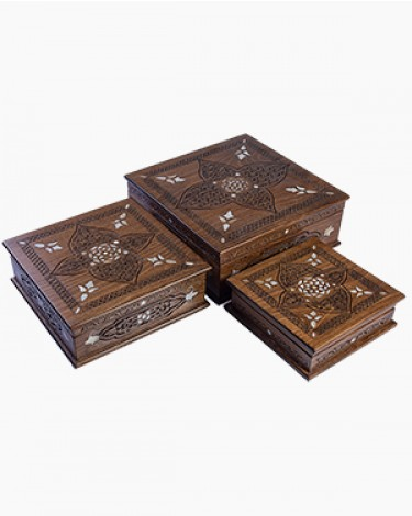 Set of 3 decorated handmade boxes