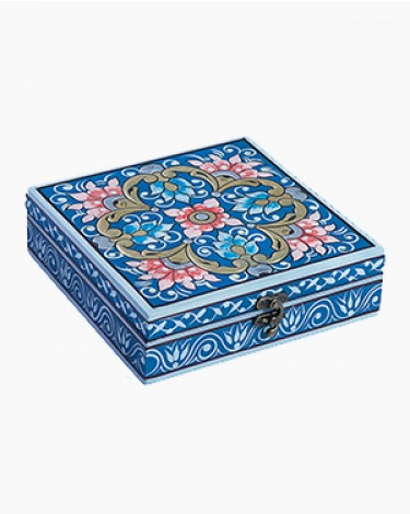 Vintage decorated jewelry box - royal blue