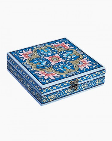 Vintage decorated jewelry box - dark blue