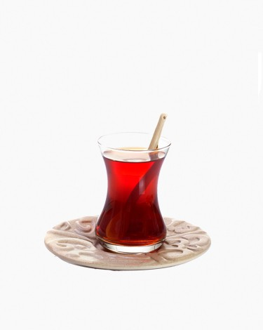 Mamlouki Glass Istikanah With Saucer Set Engraved Aya Sophia Script