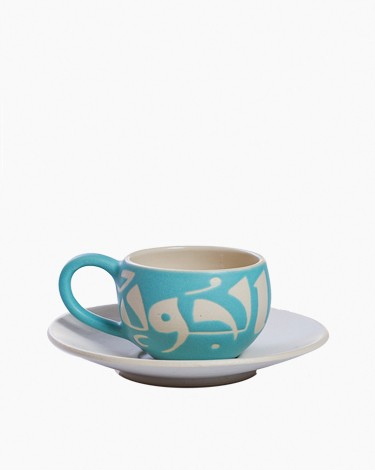 Espresso coffee cups set - Turquoise/White
