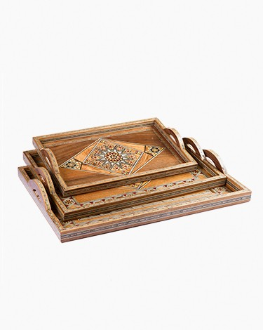 Wooden damascene trays