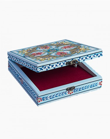 Vintage decorated jewelry box - sky blue