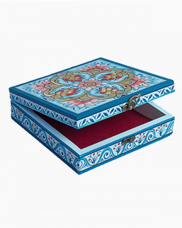 Vintage decorated jewelry box - blue