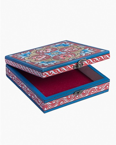 Vintage decorated jewelry box - red and blue